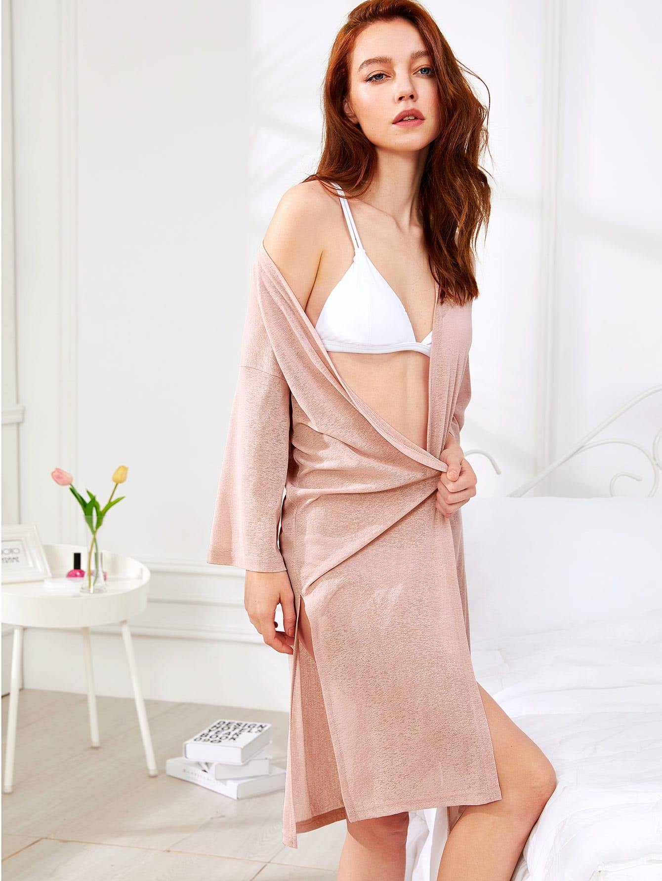 Solid Color Drop Shoulder Robe exmork 100 вт 12 в poly si