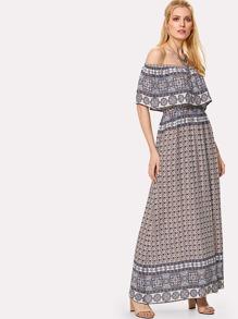 Ornate Print Flounce Off Shoulder Dress