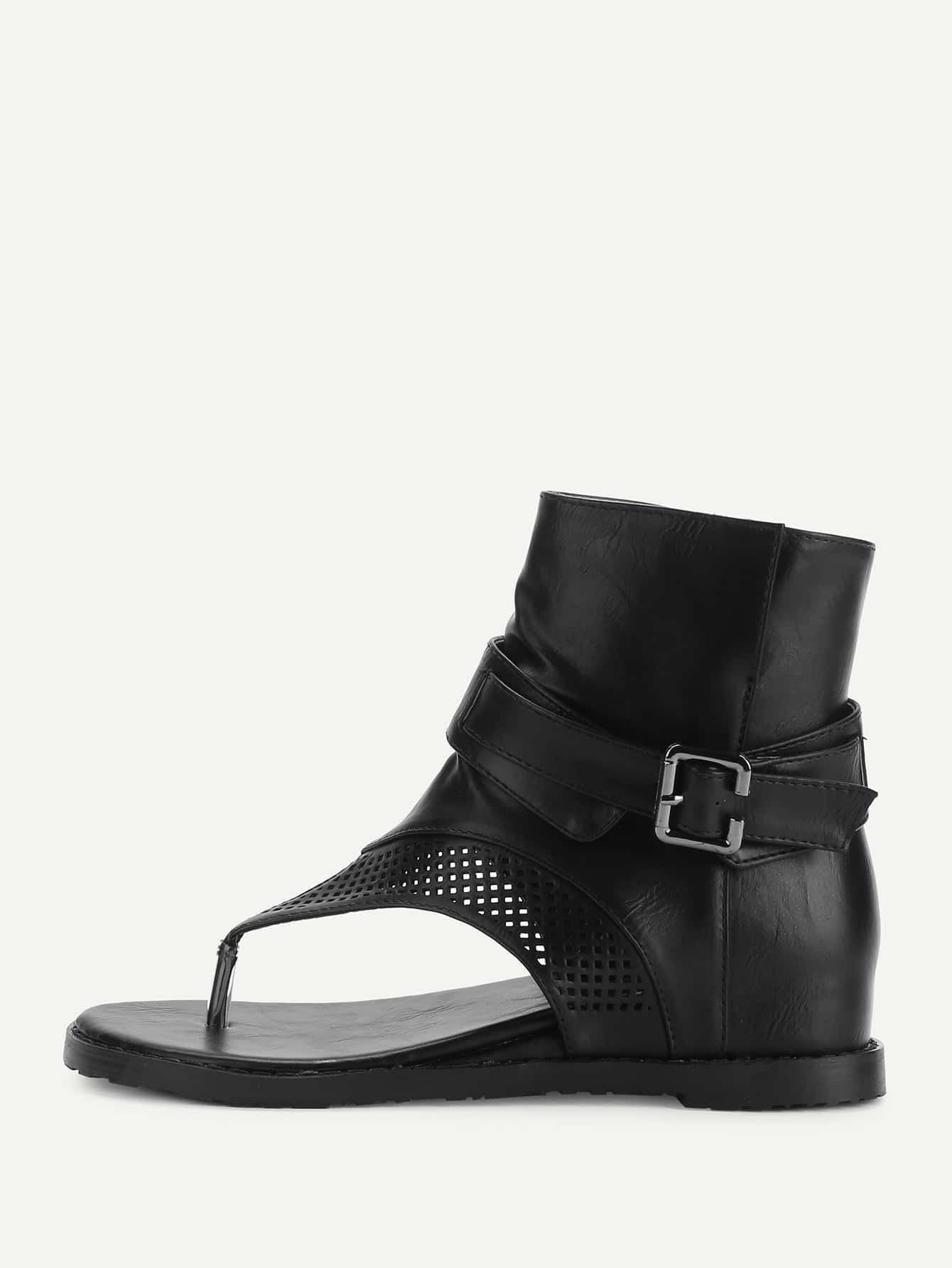 все цены на T-strap Buckle Detail Wedge Sandals