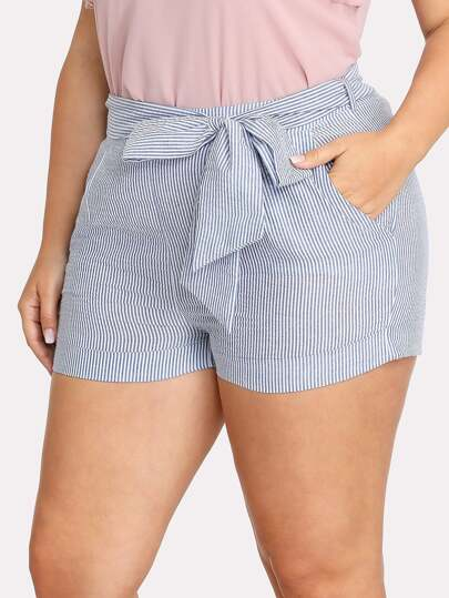 Self Belted Pinstriped Shorts
