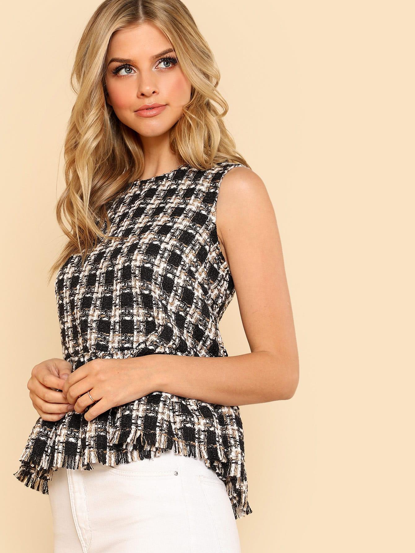 Frayed Ruffle Hem Tweed Top contrast pleated sleeve frayed hem tweed dress