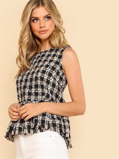 Frayed Ruffle Hem Tweed Top