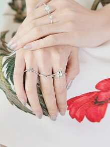 Faux Pearl Decorated Geometric Ring Set 5Pcs