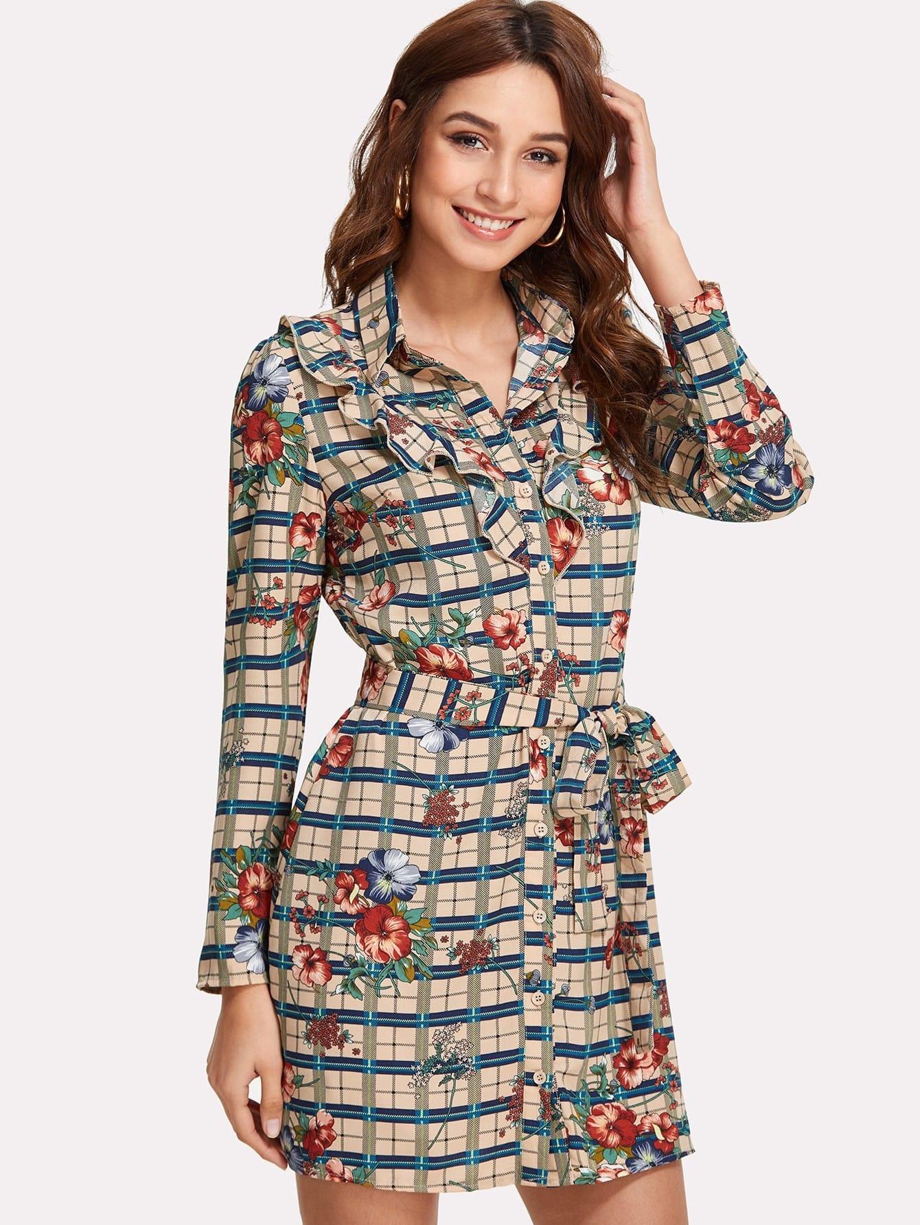 Mixed Print Tie Waist Ruffle Trim Shirt Dress flower print tie waist shirt dress