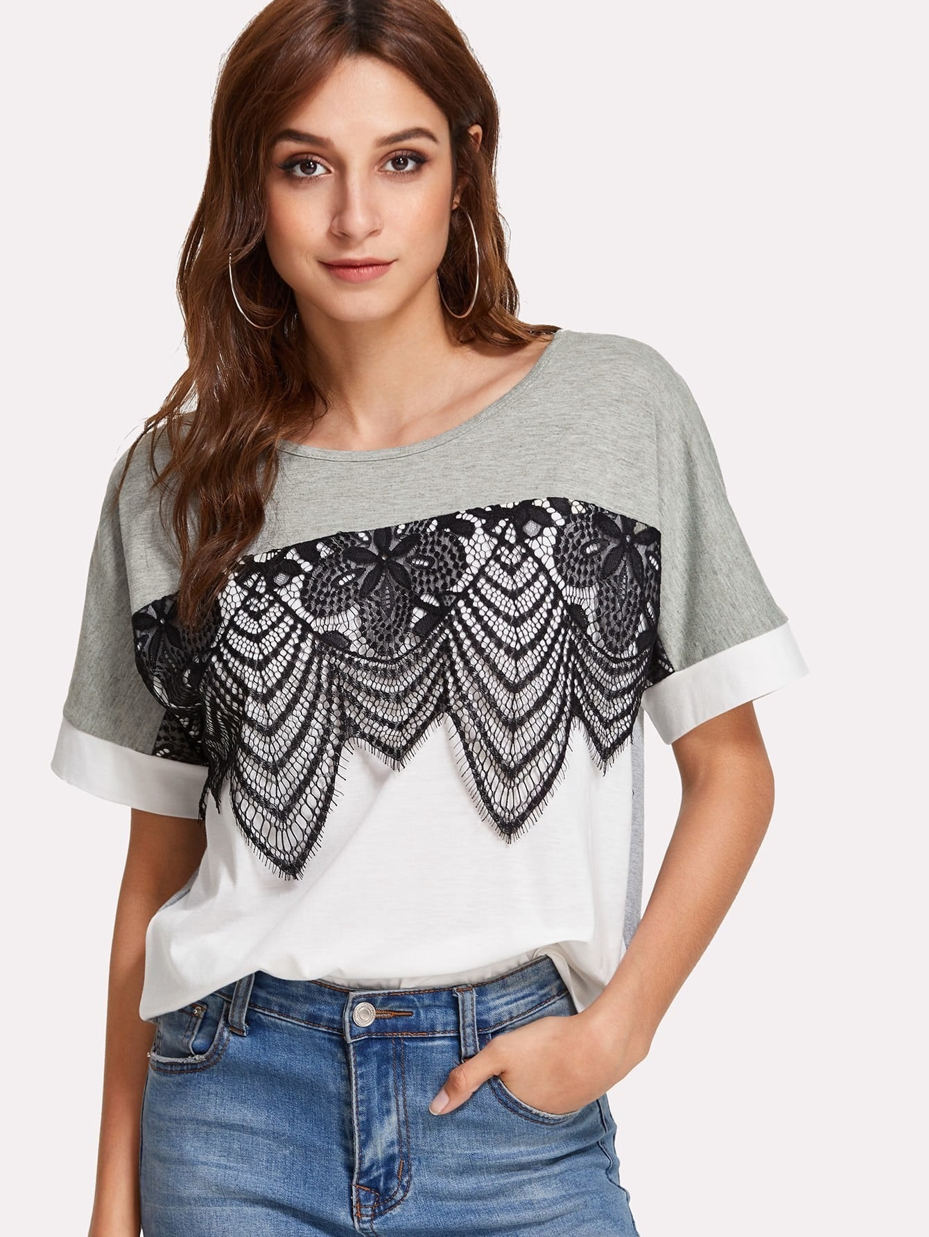 Lace Applique Two Tone T-shirt two tone mixed stripe t shirt
