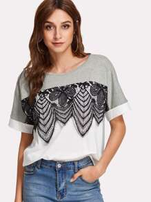 Lace Applique Two Tone T-shirt