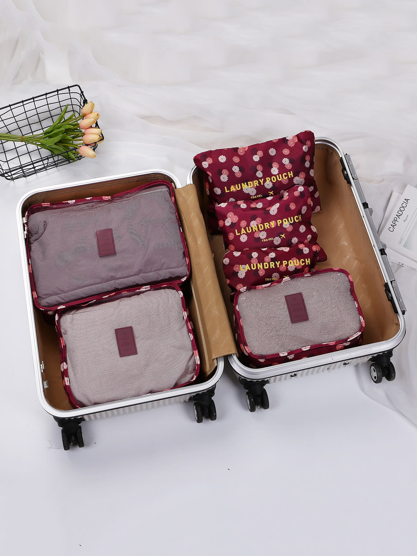 6 Pcs Travel Bags Set Floral Storage Bag