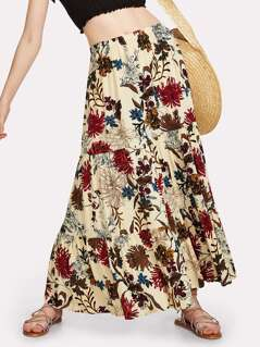 Flower Print Tiered Maxi Skirt