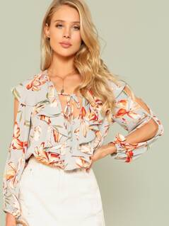 Floral Print Cut Sleeve Ruffle Trim Blouse GREY