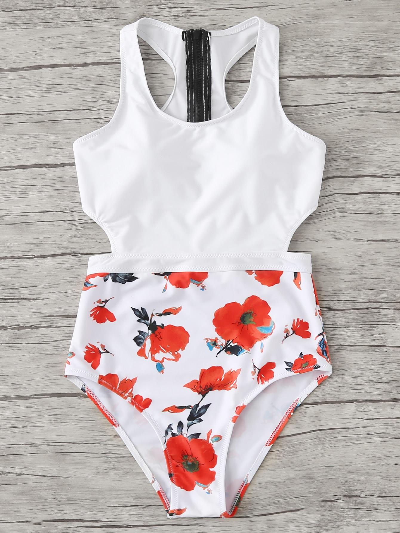 Flower Print Zipper Detail Swimsuit