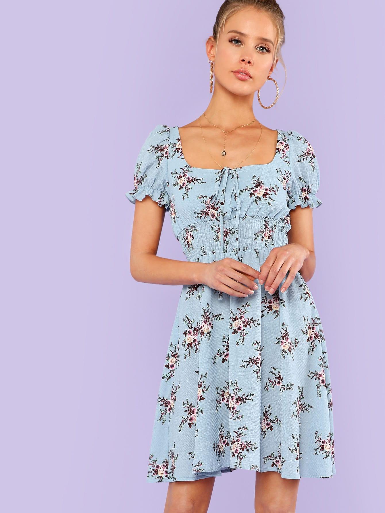 Shirred Waist Frilled Cuff Dress shirred waist zip back fit