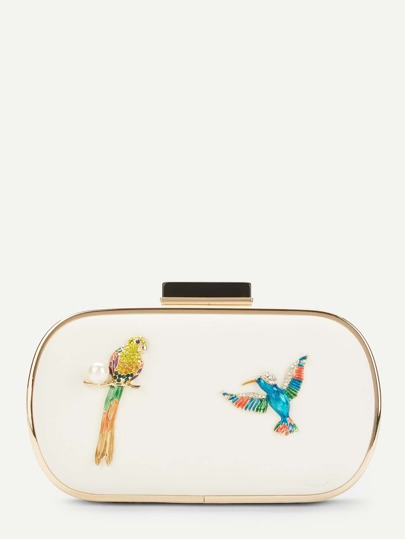 Bird Pattern Clutch Chain Bag