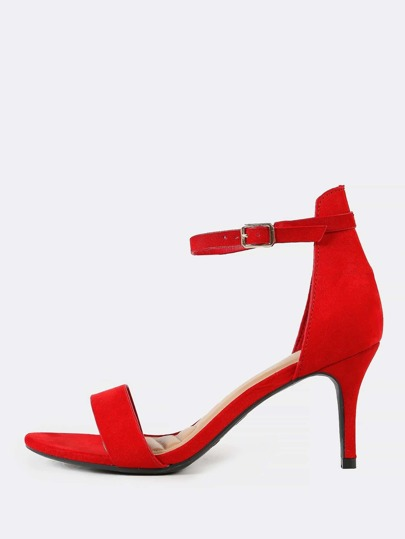 Faux Suede Classic Single Strap High Heels RED