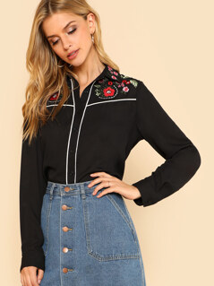 Contrast Tipping Flower Embroidered Button Up Shirt