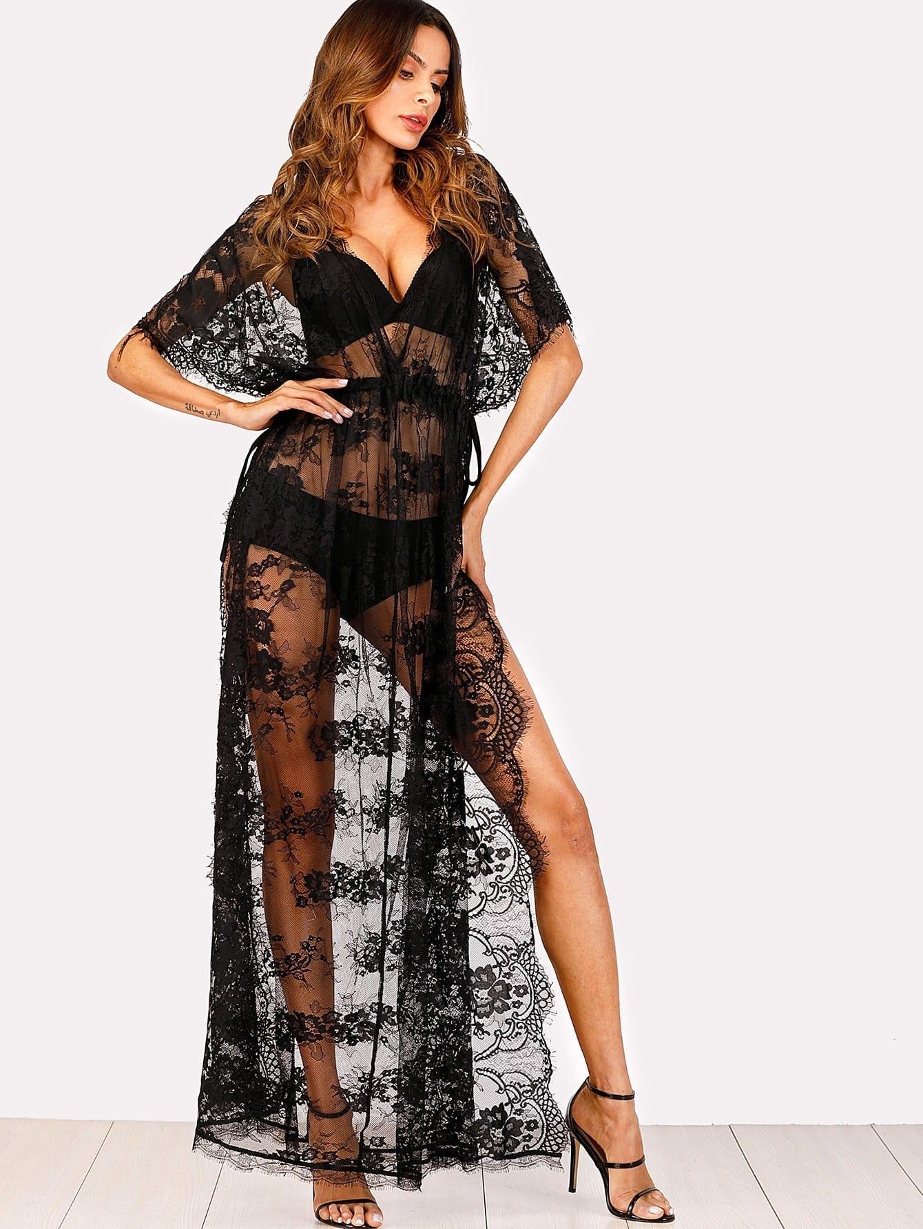 See-Through Eyelash Lace Beach Dress