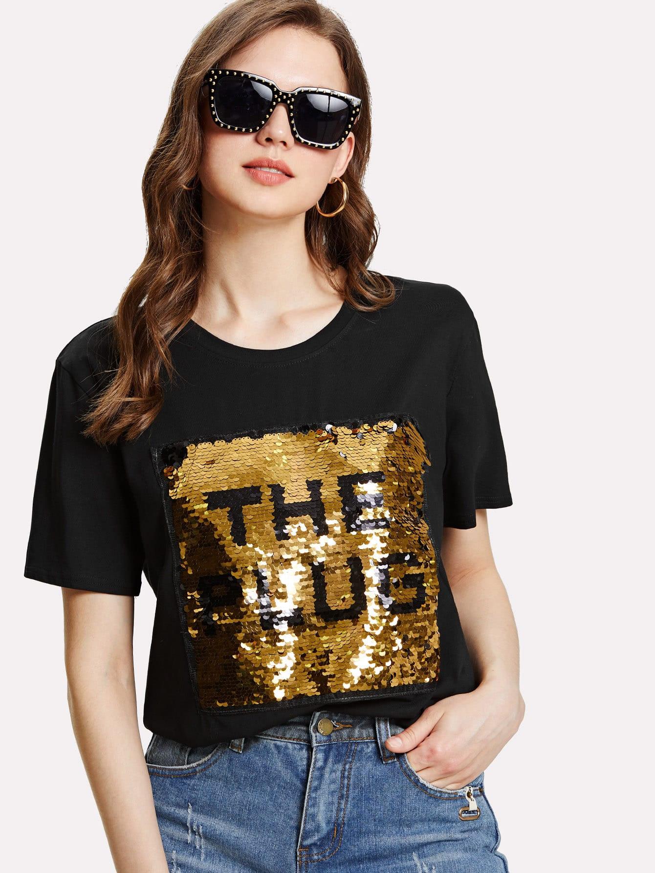 Купить Стильная футболка с принтом, Muffy, SheIn