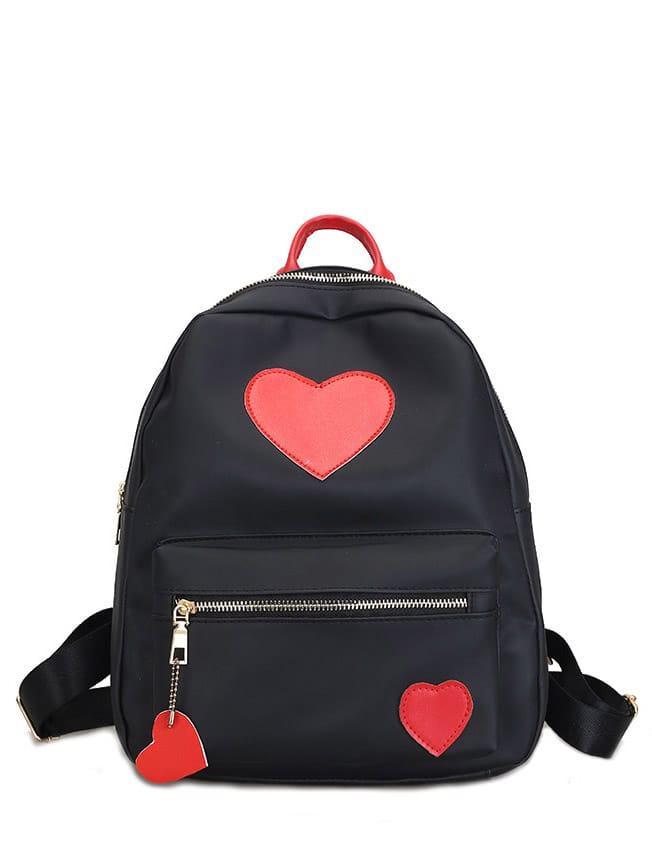 Heart Decor Zipper Front Backpacks Bag heart decor zipper front backpacks bag
