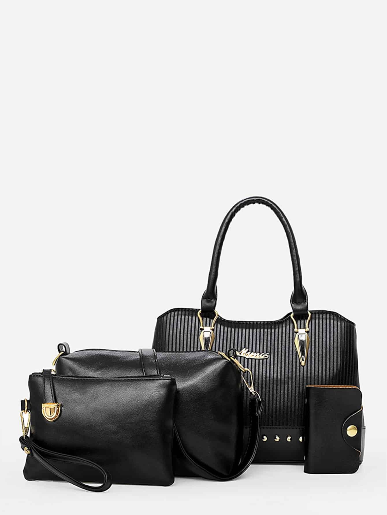 Ribbed Detail Tote Bag 4Pcs