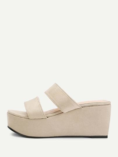 Two Part Slip On Platform Wedges