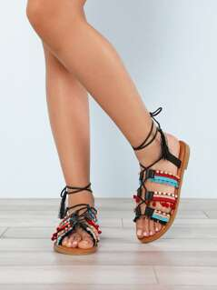 Embellished Lace Up Sandal with Pom Pom and Tassel Detail BLACK