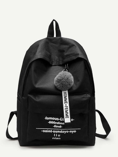 Pom Pom Decor Backpack