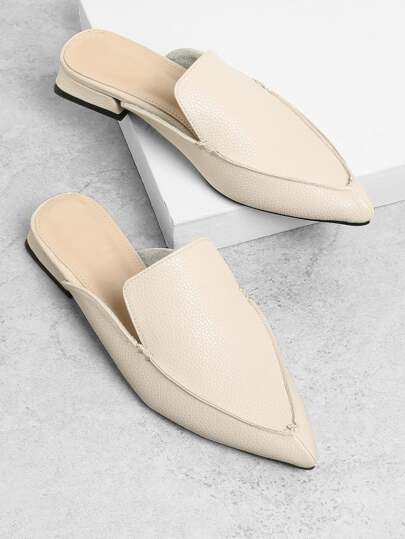 PU Pointed Toe Flat Mules