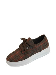 Lace Up Plaid Sneakers