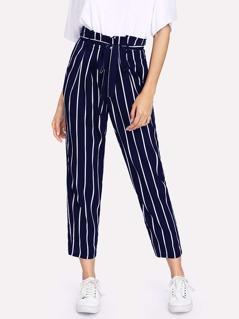 Frill Trim Waist Striped Tapered Pants