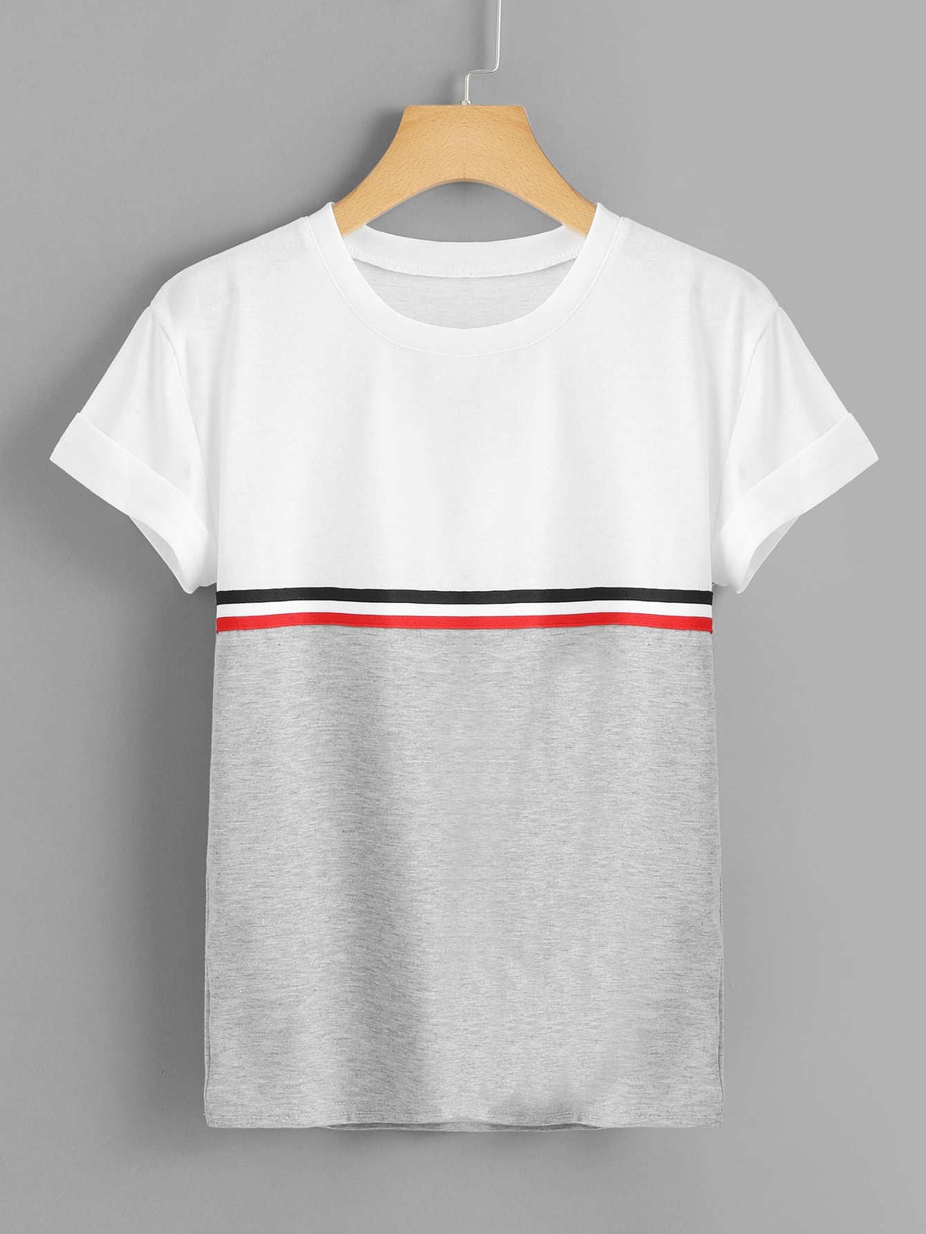 Striped Panel Color Block Tee