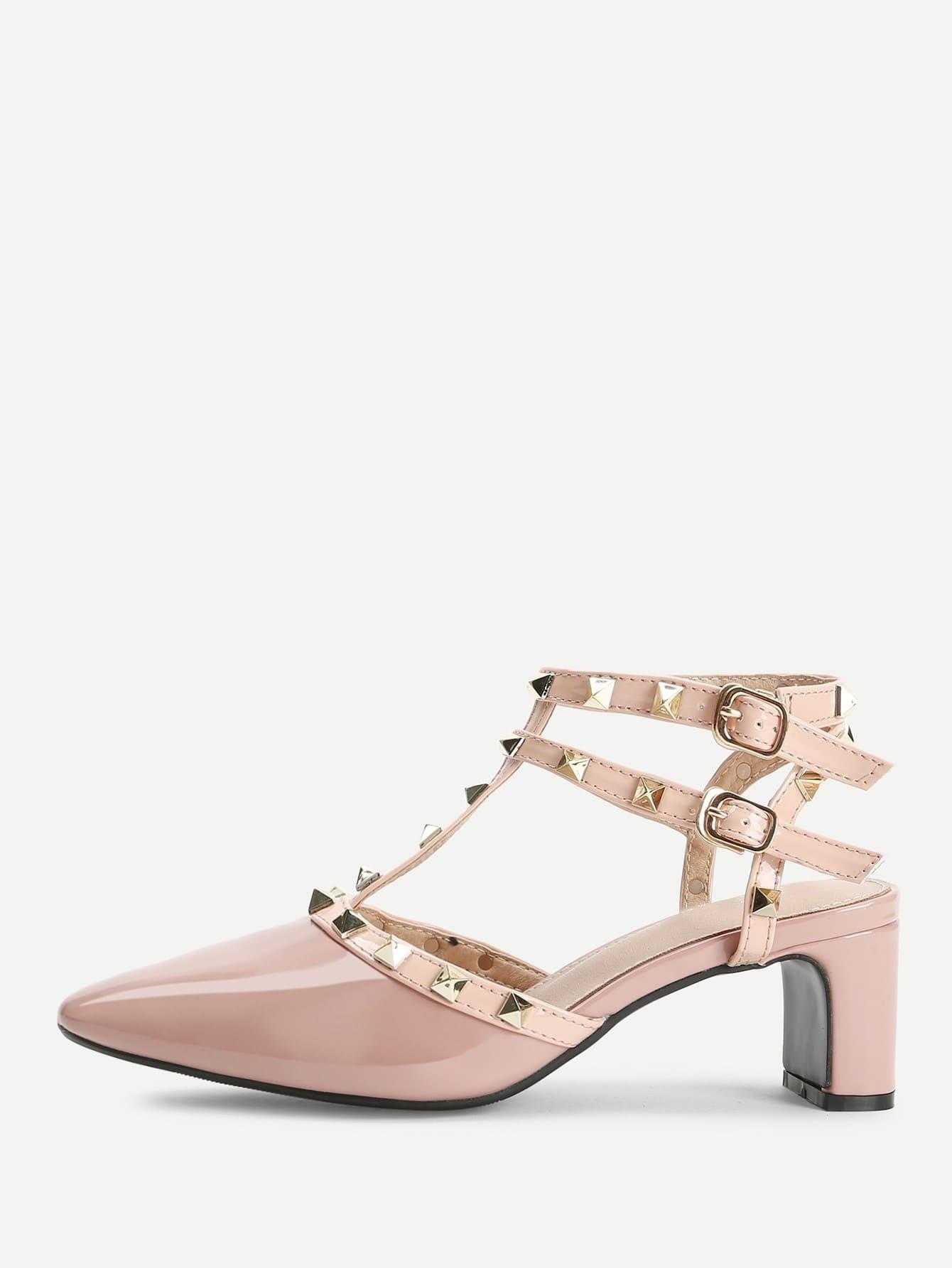 Rivet Detail Gladiator Chunky Heels rivet detail gladiator chunky heels