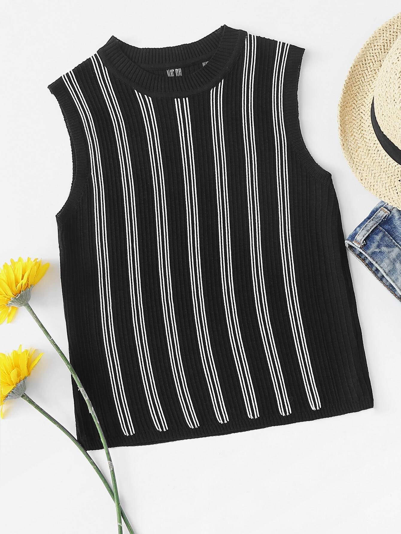 Ribbed Neck Striped Knit Top rves180327061