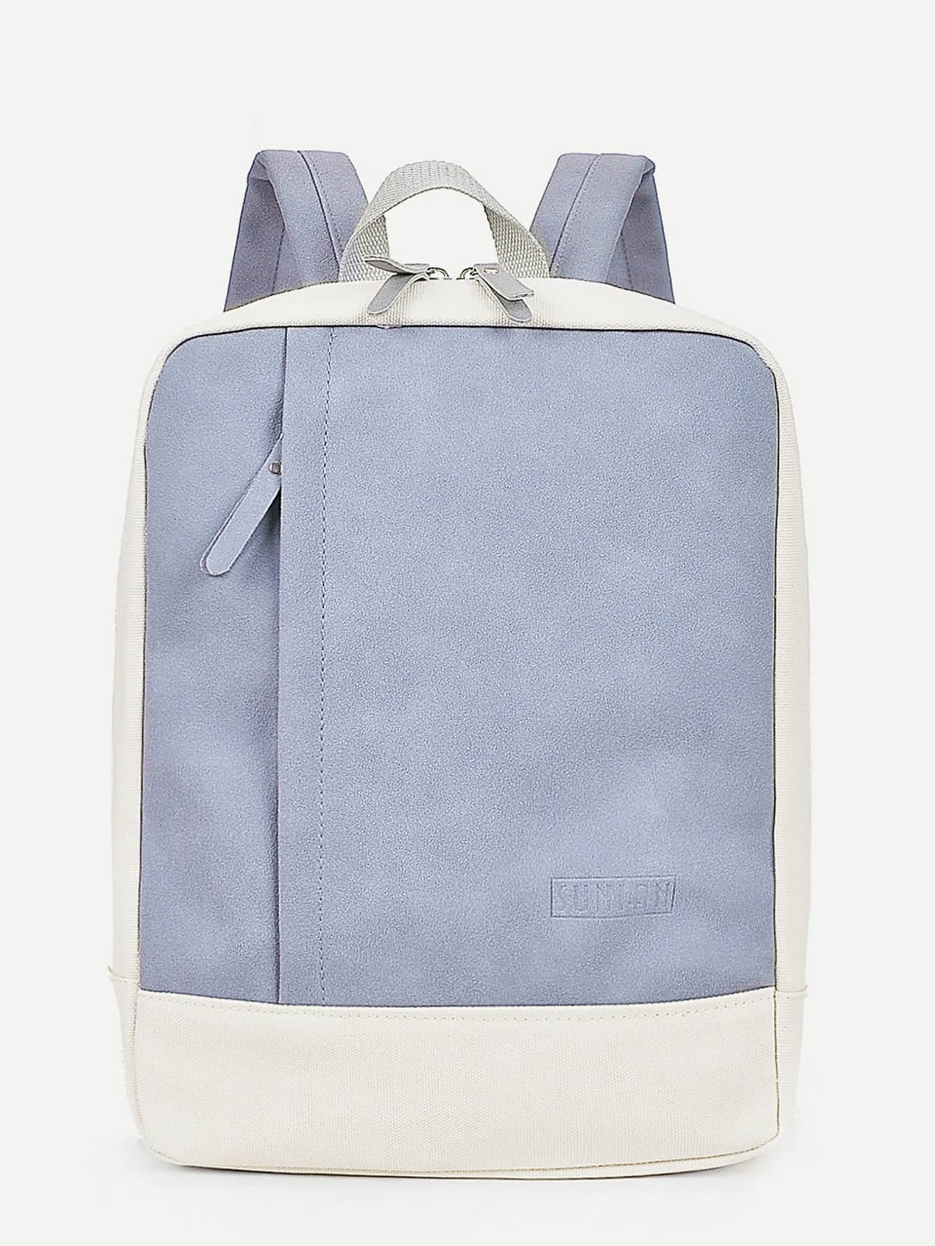 Zipper Front Two Tone Canvas Backpack