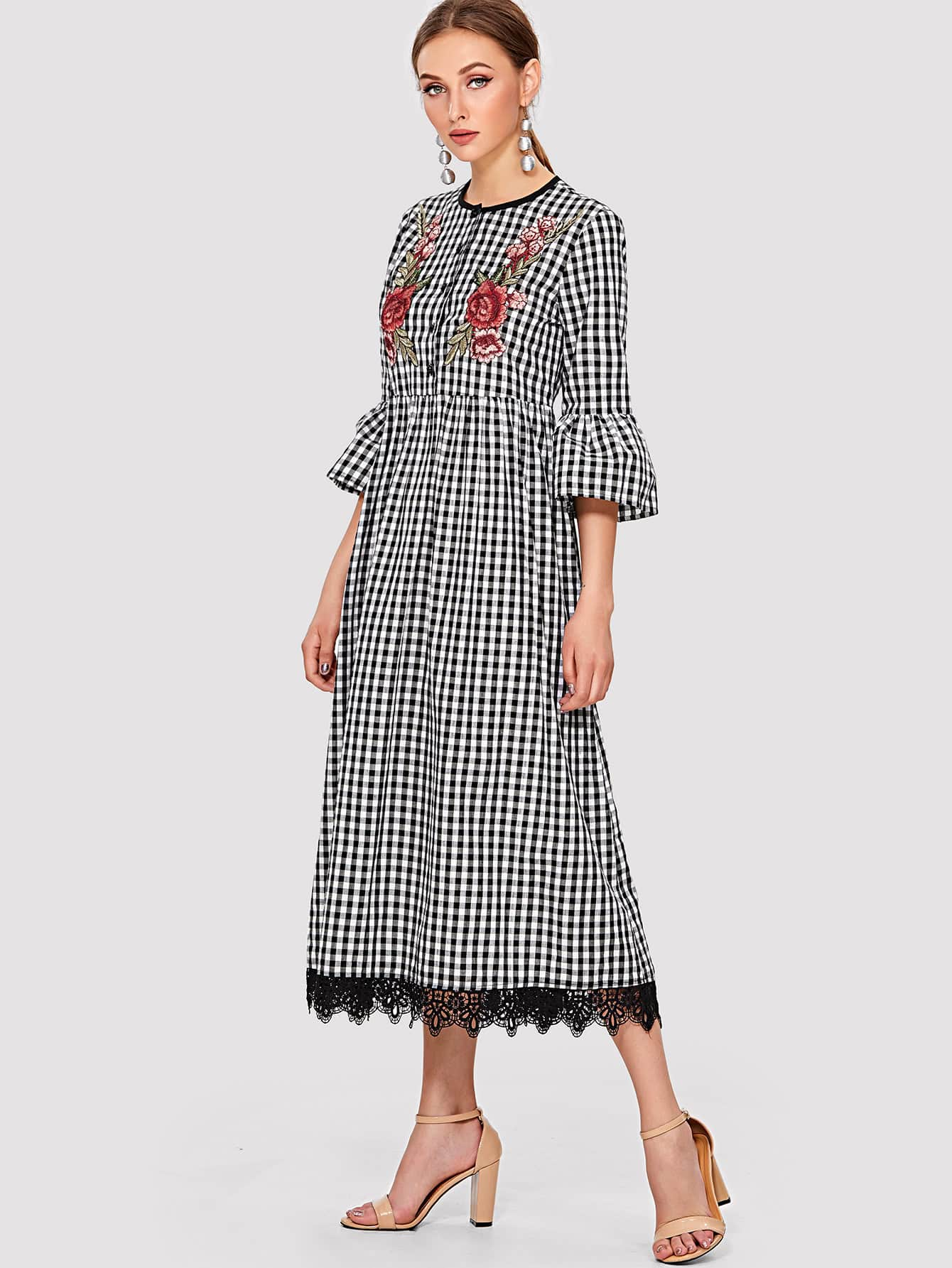 Embroidery Applique Lace Hem Gingham Dress embroidery applique knot back fitted