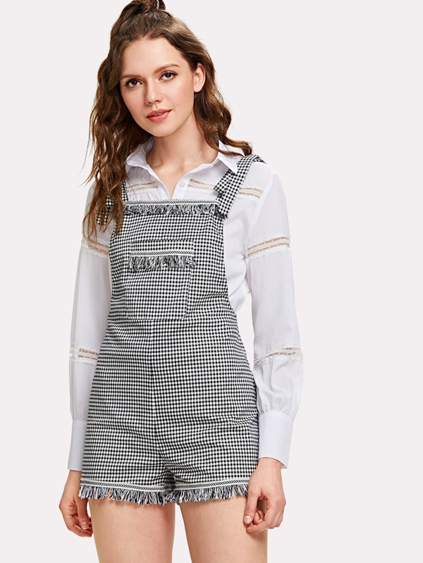 Self Tie Shoulder Fringe Detail Plaid Overall Shorts by Shein