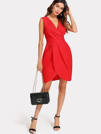 Surplice Neckline Tulip Hem Dress