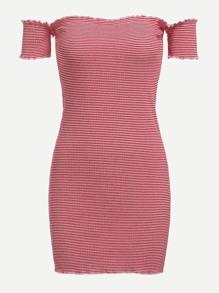 Off Shoulder Frill Trim Striped Dress