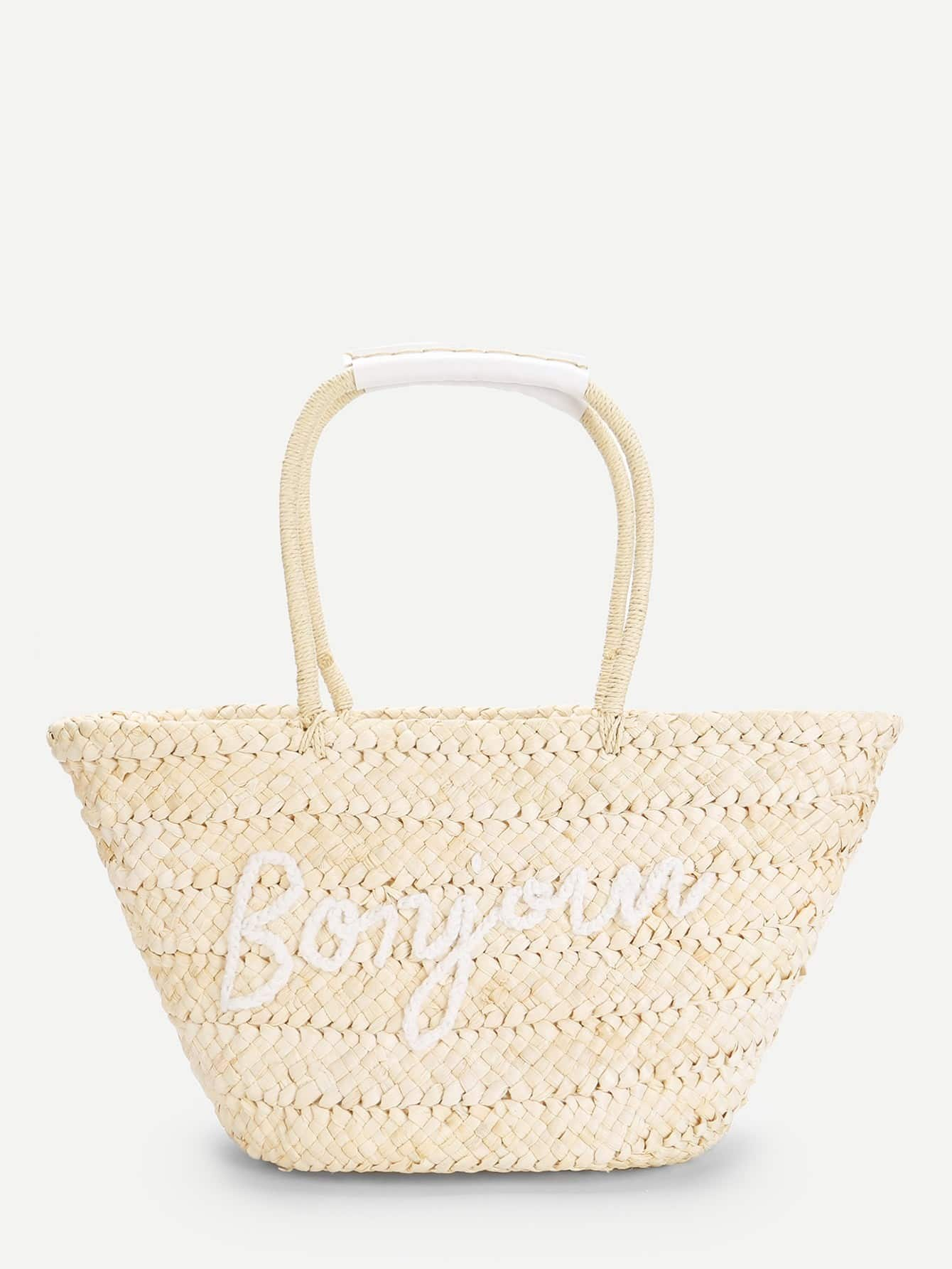 Letter Pattern Straw Tote Bag palm tree pattern straw chain bag