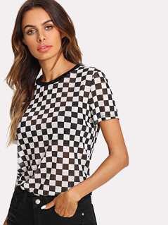 Checkered Print Semi Sheer Tee