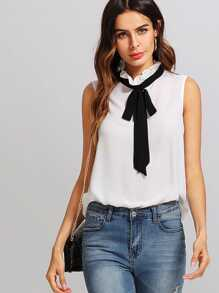 Frilled Tie Neck Top