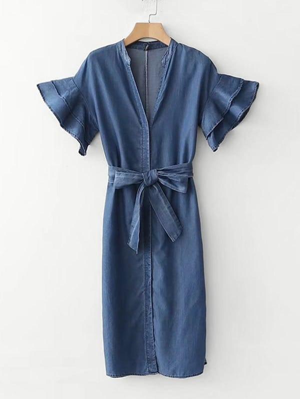Tiered Flounce Sleeve Belted Denim Dress flounce sleeve striped denim dress