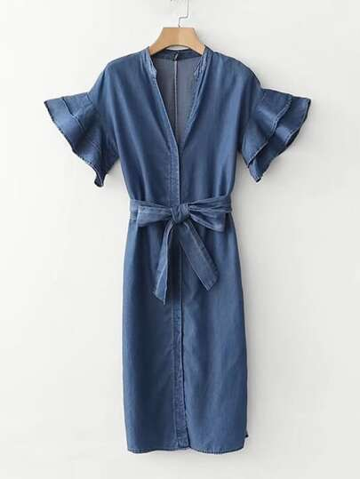 Tiered Flounce Sleeve Belted Denim Dress