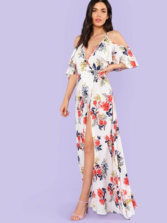 d577d8311800 Cold Shoulder Floral Print Wrap Maxi Dress OFF WHITE | MakeMeChic.COM