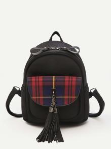 Tassel Decor Plaid Backpack