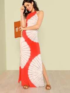 Halter Tie Neck Tie Dye Maxi Dress CORAL