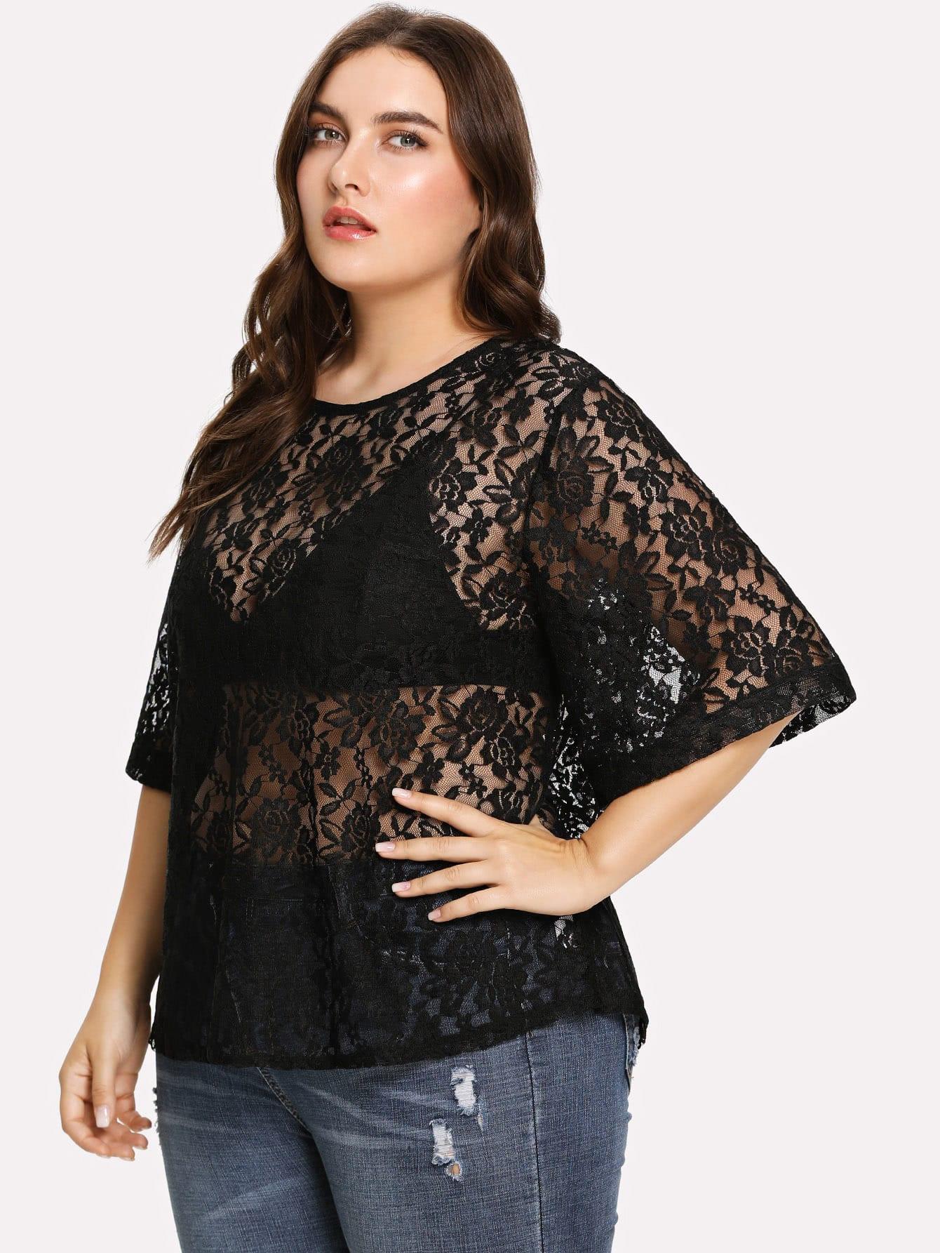 Купить Прозрачная кружевная блуза, Franziska, SheIn