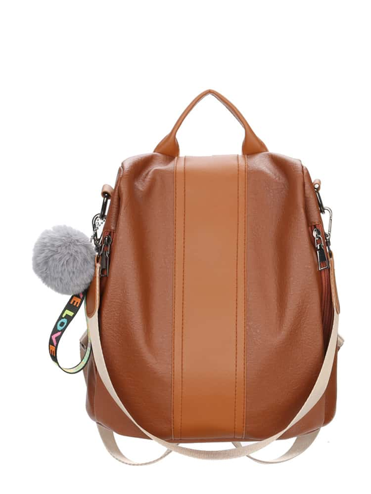 Pom Pom Decor Two Tone Backpacks Bag drop crotch loose two tone pants