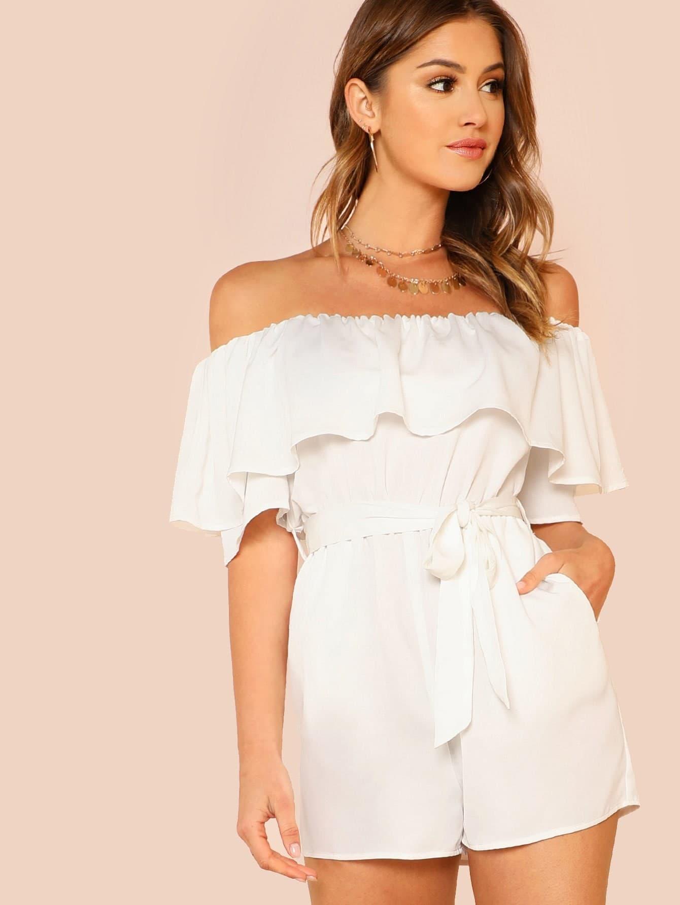 Купить Модный комбинезон с поясом и открытыми плечами, Gigi Paris, SheIn