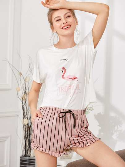 Flamingo Print Tee & Striped Shorts PJ Set