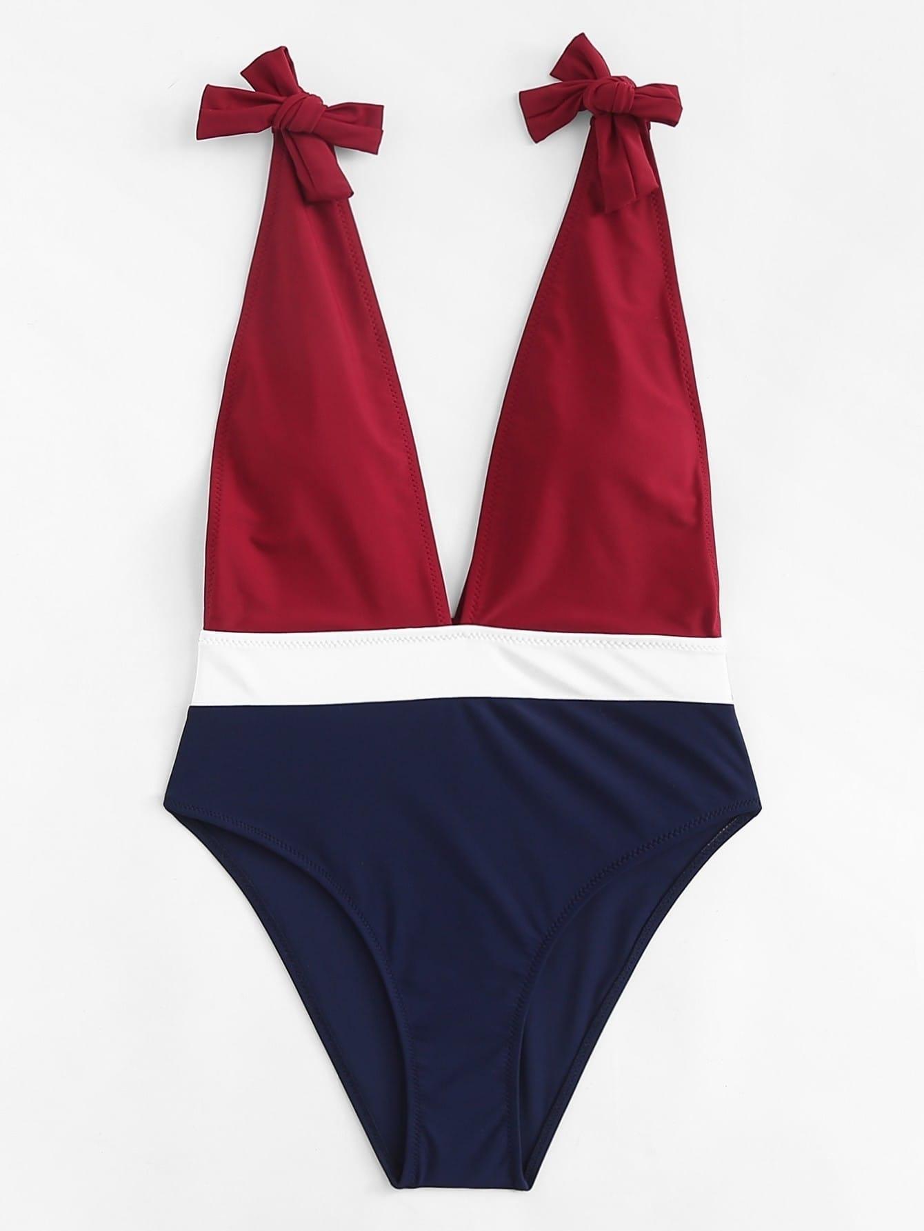 V Plunge Colorblock Swimsuit swimwear180316315