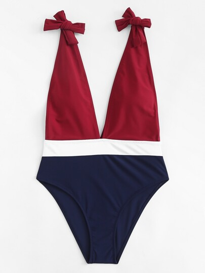 V Plunge Colorblock Swimsuit